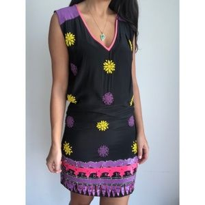Tracy Reese Silk Beaded Sequin Floral Shift Dress